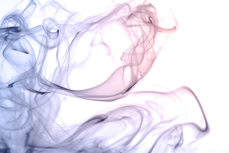 smoke: rose quartz and serenity color smoke on white background Stock Photo