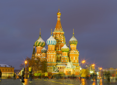 View of the St. Basils Cathedral on a winter evening at Red Square, Moscow, Russia