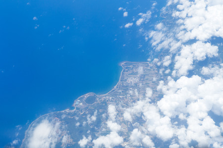 View from the airplane window, the coastline of Incheon Gwang-yeoksi airport