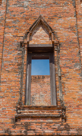 Wat Maheyong's window, Old temple at Ayutthaya, Thailand Banque d'images