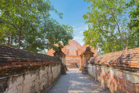 wall bricks and the walk way to the old temple in Ayutthaya, Thailand