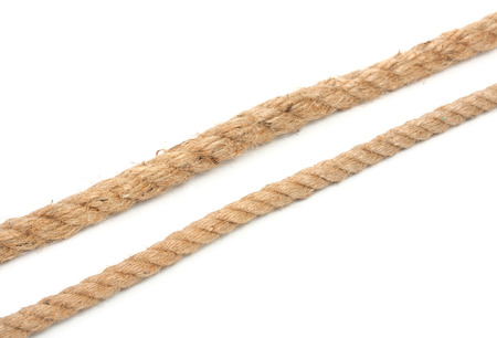 Pair of ropes are different diameters isolated on a white