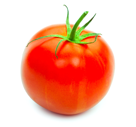 Fresh red tomato isolated on white background. Close-up. Stock Photo