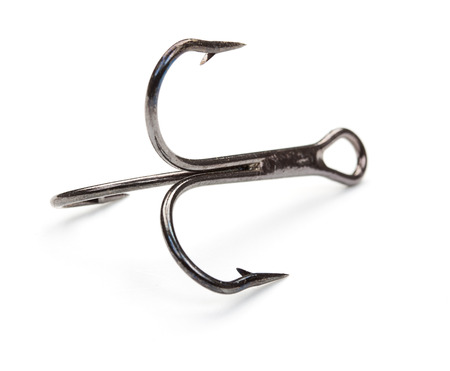 nylon string: Fishing hook isolated on a white Stock Photo