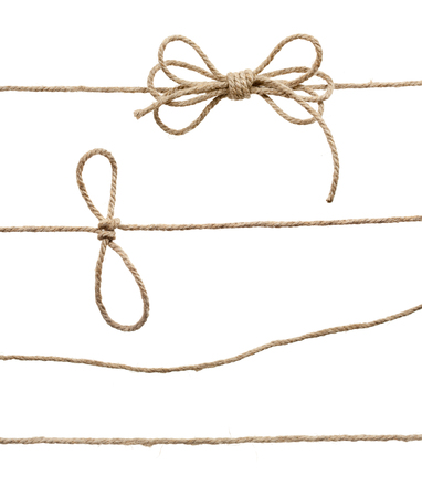 lashing: Rope with knot, with knot and bowknot, isolated on white. Stock Photo