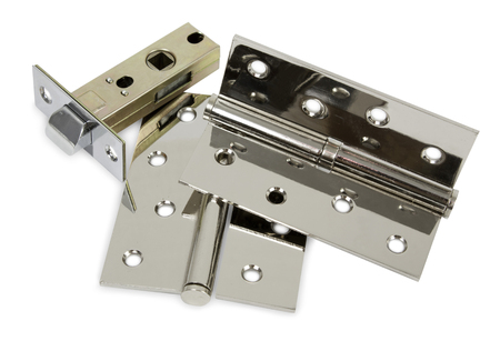 pawl: Chromed metal set of hardware for doors