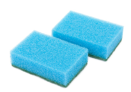 kitchen ware: Pair of sponges for washing and cleaning of kitchen ware isolated on a white
