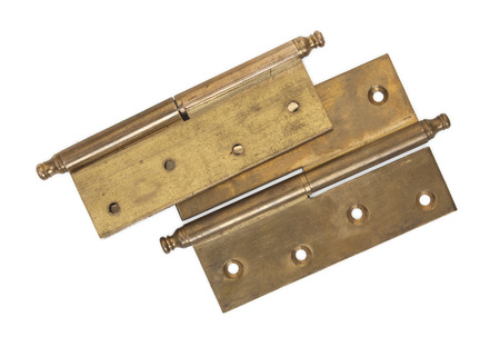 hinges: Pair of old brass hinges isolated on a white