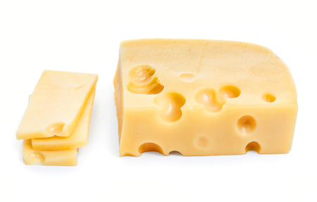 cheez: Piece of cheese and slices isolated on a white background