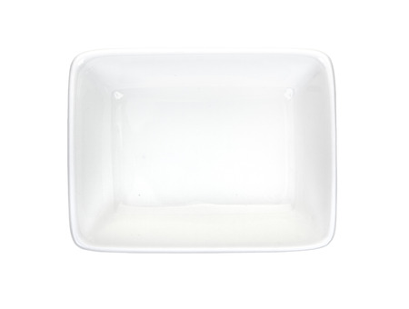 ramekin: Rectangular ramekin isolated on a white top view Stock Photo