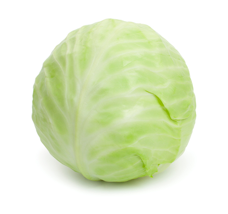 Fresh single green cabbage. Isolated on white background.