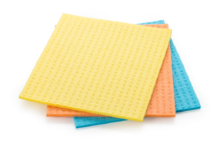 Set of 3 sponge napkin isolated on a white. Close up, top view. Stock Photo