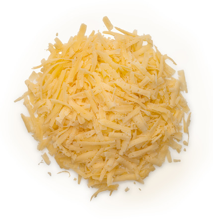 Heap of grated cheese isolated on a white background, top view, close up. Stok Fotoğraf