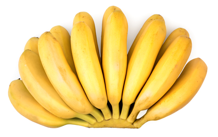 banana skin: Big bunch of little ripe delicious bananas isolated on white background, top view. Stock Photo