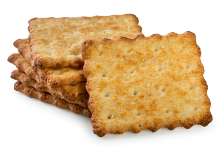 Stack of tasty, crunchy french crackers isolated on a white background, close up. Stock Photo