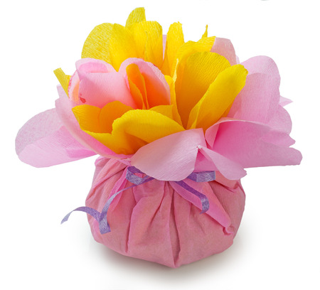 Candies wrapped in pink and yellow crepe paper handmade wrapping candies wrapped in pink and yellow crepe paper handmade wrapping imitation of peony flower mightylinksfo