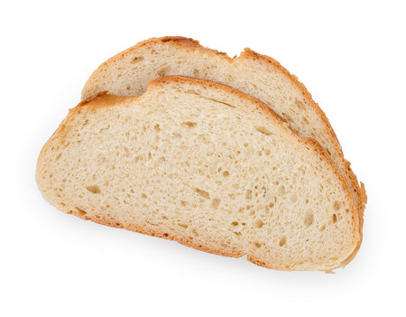Pair slices of a long loaf isolated on a white background, close up, top view.