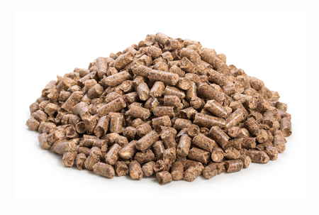 Heap of woody clumps, pellets of litter, for cat, rabbit, guinea pig, hamster, rodent, bird, turtle and other pets, isolated on a white background Reklamní fotografie