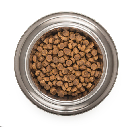 Stainless steel metal bowl for dog, cat or other pet with dried food isolated on a white background, top view.