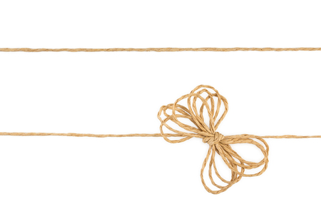 Pair of ropes with knot, with knot and bowknot, isolated on white.