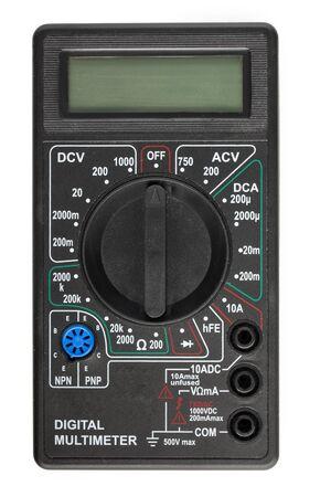 Nuevo multímetro digital, probador de amperímetro aislado sobre fondo blanco, vista superior.