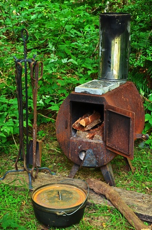 stove: wood stove Stock Photo