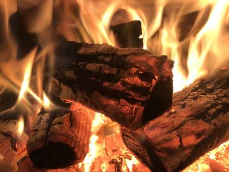 Fire place burning