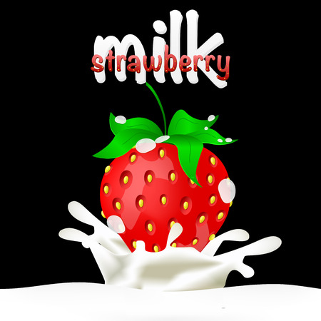 dipped: Strawberries dipped in milk with splashes. Drop and sweet, food and fresh and liquid. Vector illustration. EPS10
