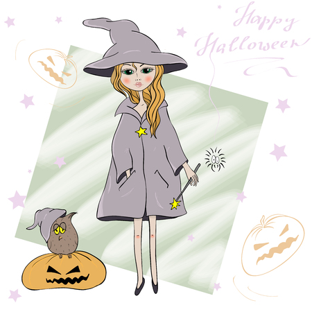 Cute Little Halloween Witch and sweet owl.