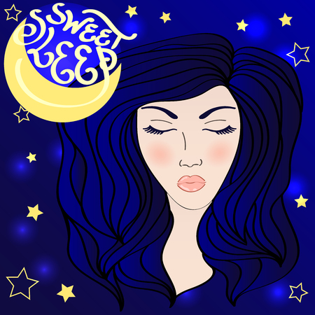Beautiful woman with fluttering fairy glowing blue hair. Magic night fairy. Sweet sleep. Hand drawn portrait of a beautiful woman. Alchemy, religion, spirituality, occultism. Illustration