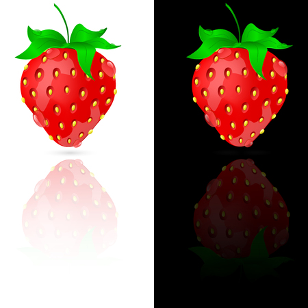 Beautiful strawberry with dew drops on a black and white background.