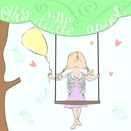 Cute cartoon angel girl on a swing on a large tree with a balloon. My little angel handwritten inscription in the crown of the tree. Vector illustration for your design  イラスト・ベクター素材