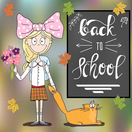 L'iscrizione in gesso. Lettering. Torna a scuola calligrafia. Carta. Testo scritto a mano. La bambina con il gatto costa sulla lavagna.