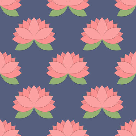 Seamless pattern with lotus flowers, vector background