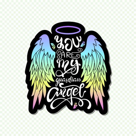 """""""Je bent mijn beschermengel!"""" Geïsoleerde belettering. Cartoon engel vleugels met een halo en kalligrafische boodschap. Handgeschreven uniek typografieontwerp. Vector Illustratie"""