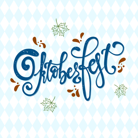 Oktoberfest handwritten lettering. Oktoberfest typography vector design for greeting cards, card, postcard and poster. Bavarian Beer Festival banner. Design template celebration. Иллюстрация