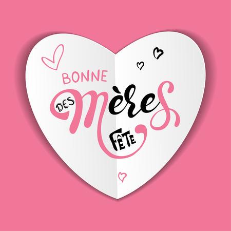 Muttertag Bonne fete des Meres Muttertagsgrußkarte in französischer handgezeichneter Schrift