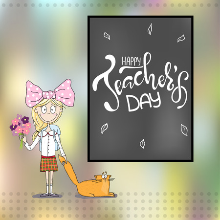 Happy Teachers day inscription. Greeting card with calligraphy. Hand drawn lettering. Typography for invitation, banner, poster or clothing design. Vector quote.