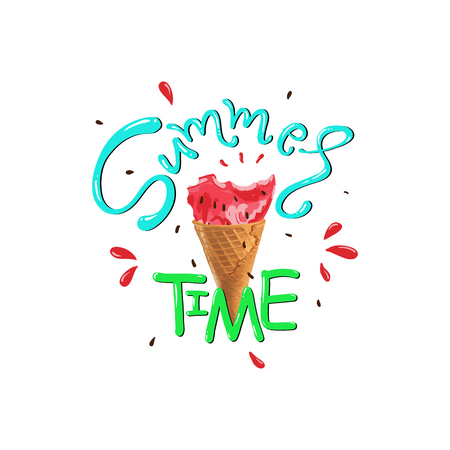 Summer time slogan vector print with matermelon. For t-shirt or other uses,T-shirt graphics / textile graphic. Design element for poster, banner, greeting card