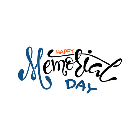 Vector Happy Memorial Day card. National american holiday illustration with stars. Festive poster or banner with hand lettering.