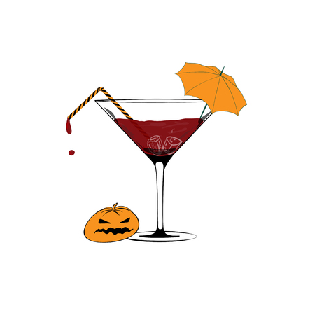 Martini glass full of blood. Minimal Halloween concept. Vector Vettoriali