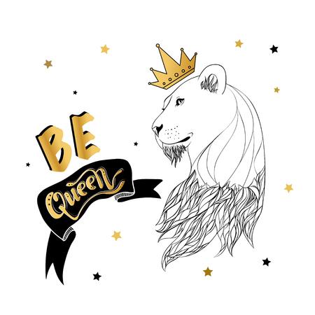 Leona en la corona con un eslogan impreso