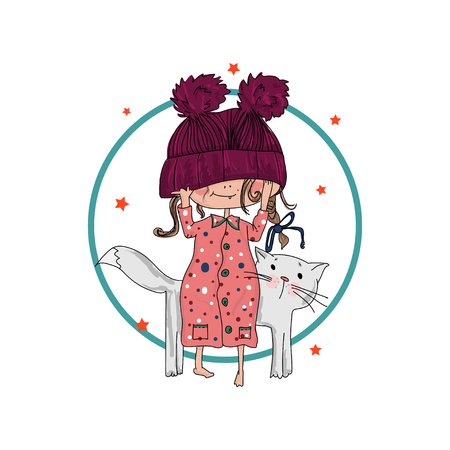 Cute girl with cat. vector
