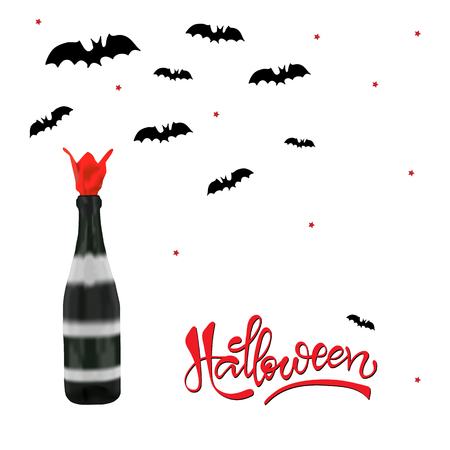 Champagne bottle with bats silhouettes on white background. Halloween party concept. Vettoriali