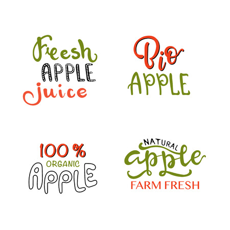 Hand sketched apple lettering typography. Farmers market, organic food, natural product design, juice, pie, jam concept. Fruit design style. Calligraphy badge, icon set. Logo, banner, tag, template. 일러스트