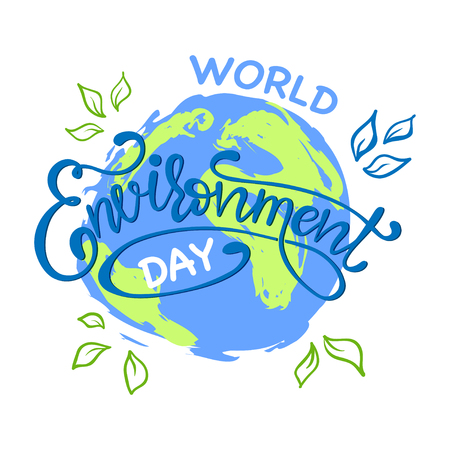 World environment day hand lettering card. Creative Poster Or Banner Of World Environment Day. Vector Иллюстрация