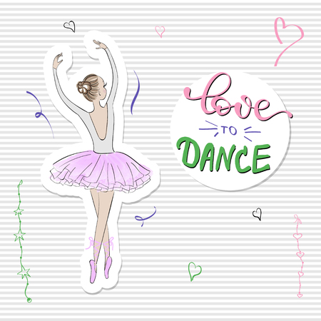 Cute Romantic Ballerina with slogan print Love to dance Banque d'images - 126372384