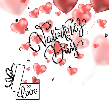 Valentine's day abstract background with red 3d balloons. Heart shape. February 14, love. Vector symbols of love in shape of heart for Happy Women's, Mother's, Valentine's Day, birthday greeting card