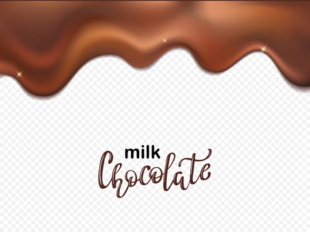 Chocolate streams. 3d illustration. Realistic vector illustration of melted chocolate dripping
