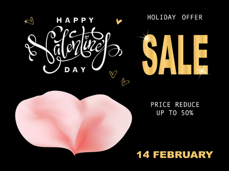 Luxury gold Valentines Day Sale gold text lettering banner with ping rose petals on black background. Vector Ilustracja